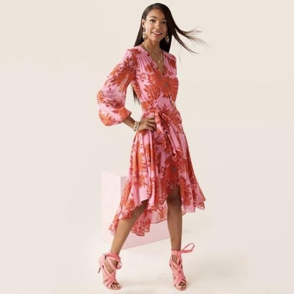 Cabi Drama Dress pink red floral wrap kimono med